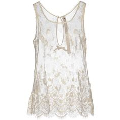 Le Coeur De Twin-set Simona Barbieri Top ($38) ❤ liked on Polyvore featuring tops, ivory, ivory lace top, ivory sleeveless top, lacy tops, lace top and lacy white top