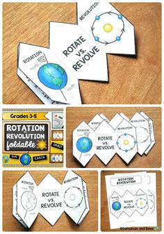 Great Rotation vs. Revolution FOLDABLE for VISUAL learners that fits perfectly in an INTERACTIVE SCIENCE NOTEBOOK.