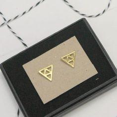 Gold Geometric Triangle Stud Earrings