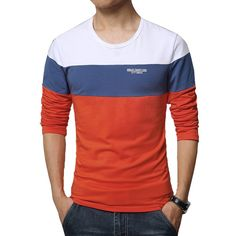 Camiseta T Manga Longa Listrada Azul Masculina de Frio Moderna Calitta