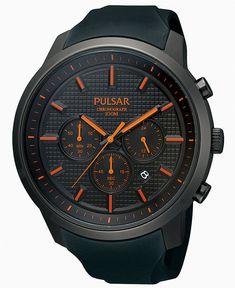 Pulsar Watch, Men's Chronograph Black Polyurethane Strap 47mm PT3207 - Men's Watches - Jewelry & Watches - Macy's