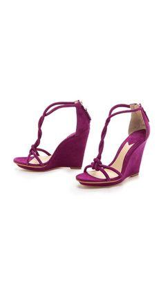 B Brian Atwood Priscilla Twist Strap Wedge Sandals
