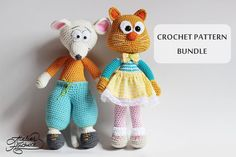 Crochet Pattern: Mouse & Cat. Bernie, the mouse and Olga, the cat. PDF Patterns