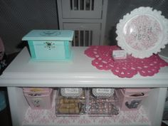 American Girl / AG doll posh pet store , mini business cards, bird cash box, puppy treats and kitty kibble containers with mini metal scoops and 'To Go' boxes