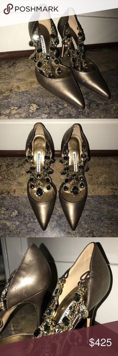 Manolo Blahnik Evening Heels They originally cost over $1000.  They have only been worn once! Manolo Blahnik Shoes Heels