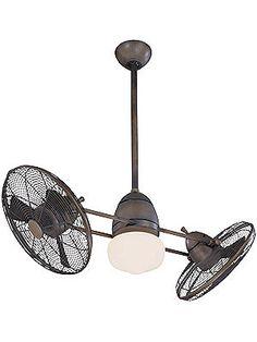 """Antique Ceiling Fan. Gyro 42"""" Twin Ceiling Fan In Restoration Bronze"""