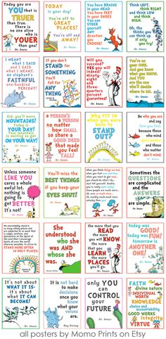 Fun collection of Dr. Seuss quotes! https://www.etsy.com/listing/154642590/8x10-pack-of-24-dr-seuss-lds-youth?ref=shop_home_active_2