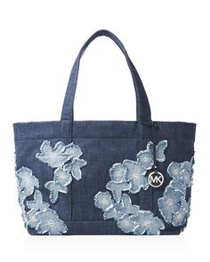 MICHAEL Michael Kors Extra Large Denim Tote Indigo/Silver $175 FREE SHIPPING OR PICK UP