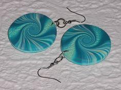Ohrhänger - Ohrhänger petrol-türkis runde Scheibe Swirl - ein Designerstück von iCo-Design bei DaWanda