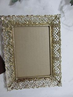 Picture Frame Filigree Gold Metal 5 x 7 With glass and Stand Back by LuRuUniques on Etsy