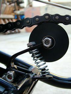 techTips the skateboard wheel chain tensioner - bikerMetric, Custom Bobber, Custom Motorcycles, Custom Bikes, Bobber Motorcycle, Moto Bike, Mini Moto, R Cafe, Diy Go Kart, Cx 500