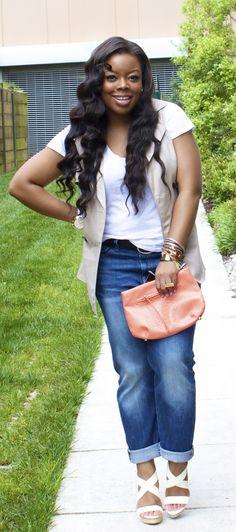 Naja Diamond--perf Gap jeans and White tee