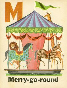 M is for Merry-go-round. Round and round, listen to the sound. #skerbeckfun #merrygoround