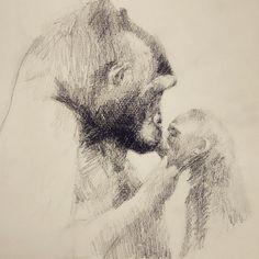 Mmmmh...   #drawing #draw #grafito #gorila #gorilla #ilustración #illustration
