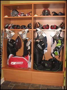Hockey lockers for home Hockey Room, Hockey Gear, Hockey Stuff, Ice Hockey, Youth Hockey, Hockey Girls, Boys, Sports Locker, Diy Locker