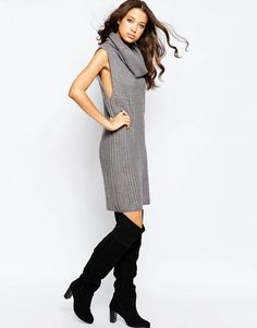 Image 4 of Brave Soul Tall Chunky Knit Jumper Dress With Cowl Neck