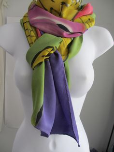 "HAND-PAINTED SILK scarf and shawl, crepe de chine, 22' X 90"", green, purple, mustard, pink,  handmade, large by ErlangerArt on Etsy https://www.etsy.com/listing/215532400/hand-painted-silk-scarf-and-shawl-crepe"
