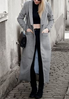 How to wear grey long woolen coat