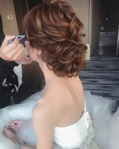 Updo with Fringe Bangs - 60 Easy Updo Hairstyles for Medium Length Hair in 2019 - The Trending Hairstyle Hairdo Wedding, Bridal Hair Updo, Easy Updo Hairstyles, Bride Hairstyles, Pretty Hairstyles, Curly Hair Updo, Curly Hair Styles, Hair Dos, Mother Of The Bride Hair