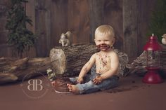 woodland cake smash | Broderick Photography |Chicago baby photographer