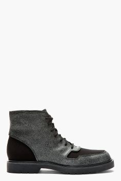 ALEXANDER WANG Black Leather Stone Finish Ankle Boots