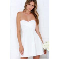 Right Here With Me Ivory Strapless Dress ($48) ❤ liked on Polyvore