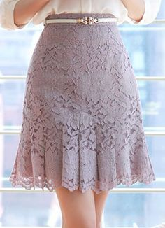 Floral Lace Pleated Skirt, Styleonme