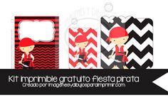 #cumpleaños#kit #imprimible #gratis Diseño para decorar fiesta de cumpleaños pirata invitaciones y bolsitas