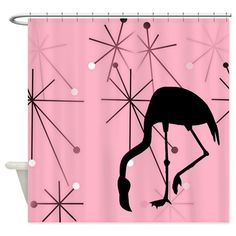 Pink Atomic Starburst MidCentury Modern Flamingo design shower curtain bathroom decor via @cafepressinc