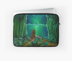 Laptop Sleeve,  mermaid,fantasy,green,unique,cool,beautiful,trendy,artistic,unusual,accessories,design,items,products,for sale,redbubble