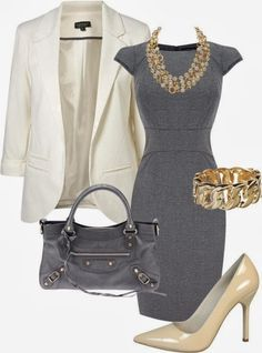 Gray Classic Work Dress  YES! Beautiful. Although I'd want the jacket to have…