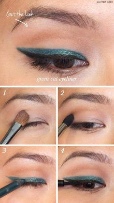 Winged Eyeliner Tutorials - Emerald Green Cat Eyeliner- Easy Step By Step Tutorials For Beginners and Hacks Using Tape and a Spoon, Liquid Liner, Thing Pencil Tricks and Awesome Guides for Hooded Eyes - Short Video Tutorial for Perfect Simple Dramatic Looks - thegoddess.com/winged-eyeliner-tutorials #EyelinerPencil Gel Eyeliner, Best Winged Eyeliner, Simple Eyeliner, Eyeliner Styles, Eyeliner Pencil, Eyeliner Hacks, Black Eyeliner, Make Up, Eye Liner