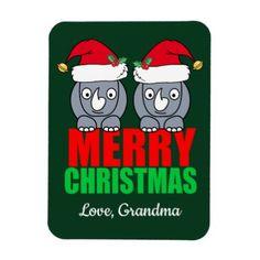 Merry Christmas Rhino Cute Custom Magnet - Xmas ChristmasEve Christmas Eve Christmas merry xmas family kids gifts holidays Santa