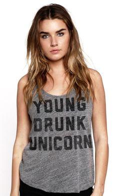 young drunk unicorn tank