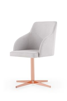 Keira Office Chair has a sleek look that's perfect for your home office. The copper base adds a touch of glamour. Rose Gold And Grey Bedroom, Rose Gold Rooms, Rose Gold Decor, Gold Desk Chair, Grey Chair, Grey Office, Copper Office, Casa Clean, Sweet Home