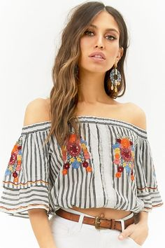 d65d678a50010 Forever 21 Floral Embroidered Striped Off-the-Shoulder Crop Top