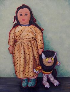America Meredith (Cherokee), Danelohasgi (Dolls), 14''h x 11''w x 2''d, Acrylic on Canvas. All rights reserved. Please call the gallery to inquire 602.346.8250.