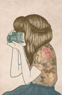 Immagini del profilo shared by mary_love_ on We Heart It Art And Illustration, Illustrations Posters, Camera Illustration, Design Illustrations, Favim, Grafik Design, Cute Drawings, Drawing Faces, Painting & Drawing