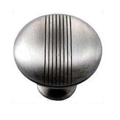 "1 1/2"" Striped Knob - Satin Antique Nickel"