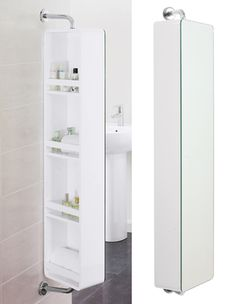Combining a mirrror with four storage shelves, this cabinet is great for a smaller, compact bathroom. Hide all your products on the back of the mirror, and simply spin it round to check out your hair or fix your outfit!