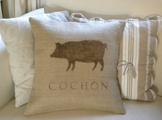 Burlap French Pig Cochon pillow cover by TheNestUK on Etsy, $28.00