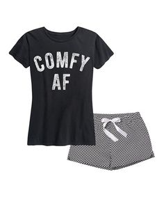 Give your lounge attire a comfy and casual update with this monochromatic pajama set that includes an ultrasoft tee and shorts. Flame Resistant