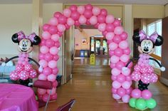 Balloons at a Minnie Mouse Party #minniemouse #partyballoons
