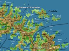 Work-in-progress shaded relief map of Nordheim with labels, borders and roads by Bruce Heard.  The colours on this map represent elevation rather than terrain.  Cartography by Thorfinn Tait.