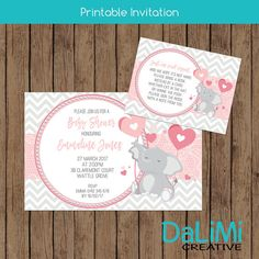 4 x 6 inch Elephant Baby Shower Invitation and 4 x 3 Book Request Card  This listing is for the creation and delivery of 1 high resolution JPG DIGITAL FILE (the invitation) and 1 high resolution PDF FILE (4 x Book Re quest Cards) that will be emailed to your Etsy registered email account (digital file invitation only). No physical product will be shipped.  The files will be emailed to you within 24 hours after all information has been received.  *****HOW TO ORDER*****  1. Purchase the design…