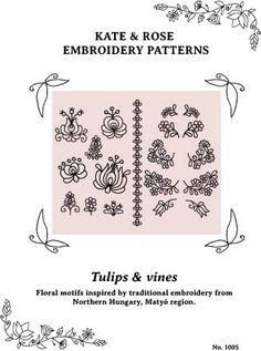 PDF embroidery pattern Matyó floral motifs from by KateNRose, $5.00