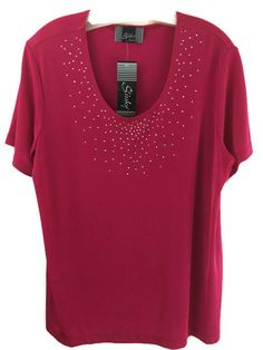 New Womens Plus Size 1X Top Pink Travel Slinky Stretchy Knit Silver Studs Blouse #SlinkyBrand #KnitTop #Casual