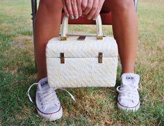 White Retro Mod Vintage Wicker Purse or Handbag in Of by AdoAnnies, $20.00