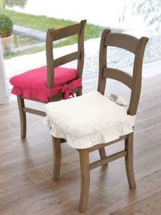 Funda protege silla de loneta con volante fruncido