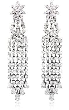Amazon.com: Diamond & 18k White Gold Chandelier Earrings: Jewelry
